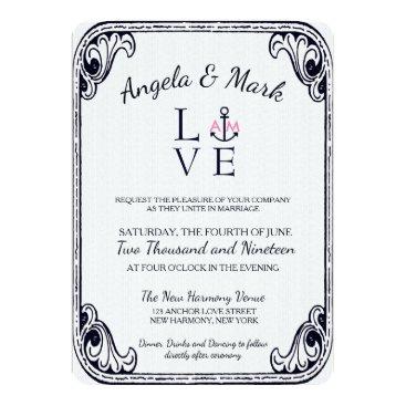 Beach Themed Anchored Love Vintage Retro Style Wedding Invites