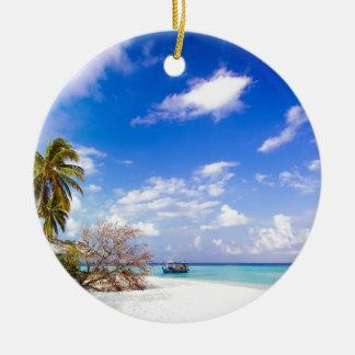 Anchored Offshore Beach Picture Ceramic Ornament
