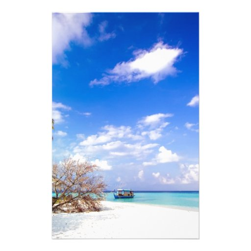 Anchored Offshore Beach Picture Custom Stationery