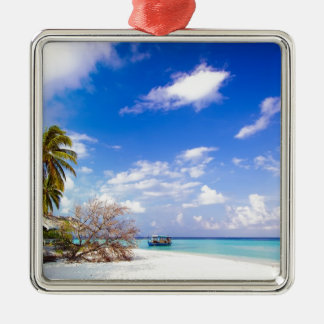 Anchored Offshore Beach Picture Metal Ornament