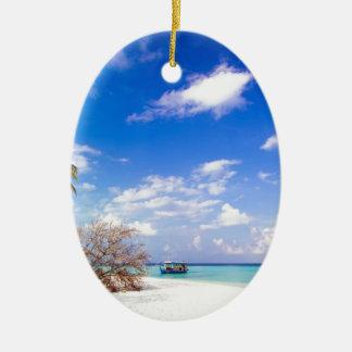Anchored Offshore the Beach Ceramic Ornament