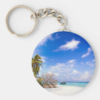 Anchored Offshore the Beach Key Chain