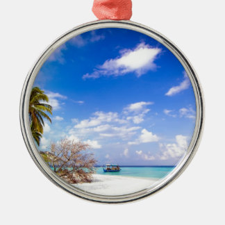 Anchored Offshore the Beach Metal Ornament