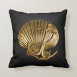 Anchored Seashell Nautical | black & gold Pillows
