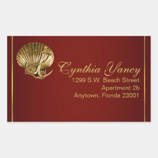 Anchored Seashell Nautical | burgundy Rectangular Sticker