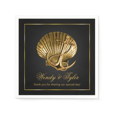 Beach Themed Anchored Seashell Nautical Cocktail | black & gold Paper Napkin
