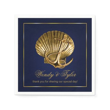 Beach Themed Anchored Seashell Nautical Cocktail Party | navy Paper Napkin