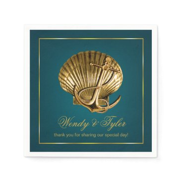 Beach Themed Anchored Seashell Nautical Cocktail | turquoise Napkin