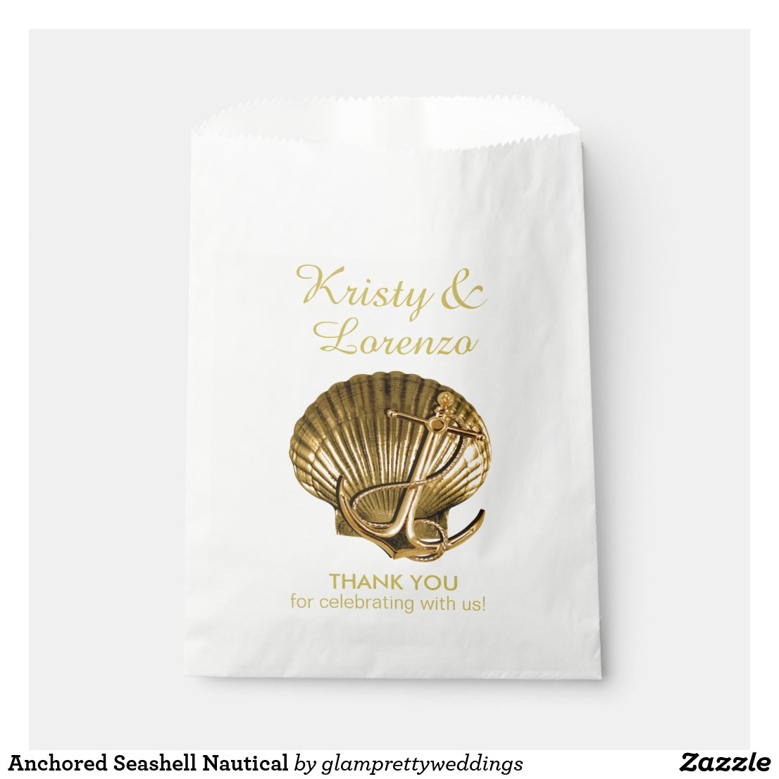 Anchored Seashell Nautical Favor Bag