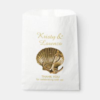 Anchored Seashell Nautical Favor Bag