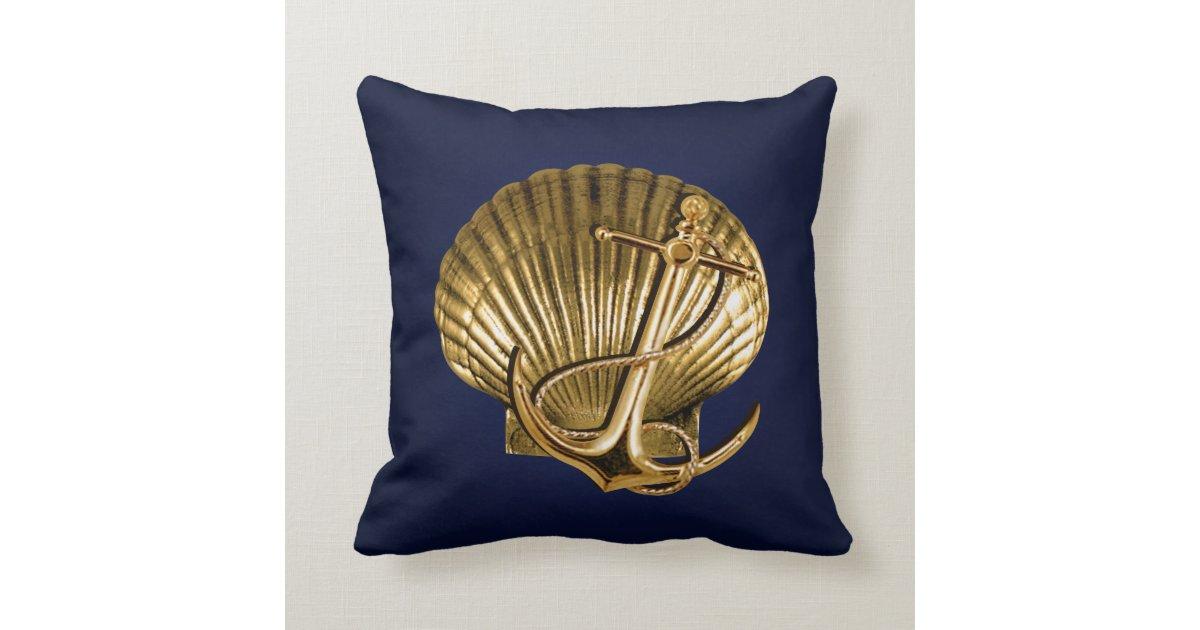 Anchored Seashell Nautical navy & gold Throw Pillow Zazzle.com