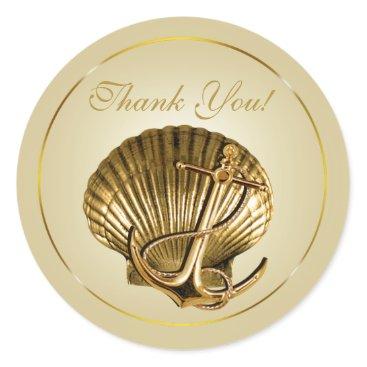 Beach Themed Anchored Seashell Nautical Thank You   ecru & gold Classic Round Sticker