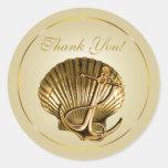 Anchored Seashell Nautical Thank You | ecru & gold Round Stickers