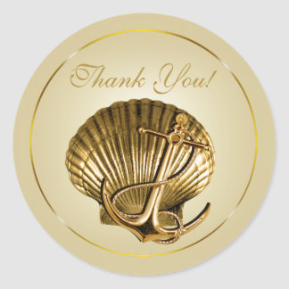 Anchored Seashell Nautical Thank You | ecru & gold Round Stickers