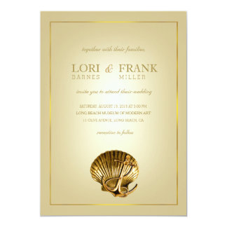 Anchored Seashell Nautical Wedding | ecru & gold Card