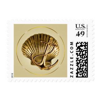 Anchored Seashell Nautical Wedding   ecru & gold Postage
