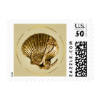 Anchored Seashell Nautical Wedding | ecru & gold Postage