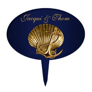 Anchored Seashell Nautical Wedding | navy & gold Cake Topper