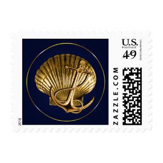 Anchored Seashell Nautical Wedding | navy & gold Postage Stamp