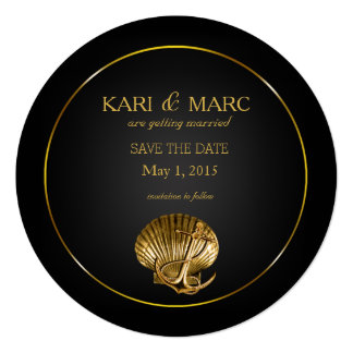 Anchored Seashell Save the Date | black & gold Card