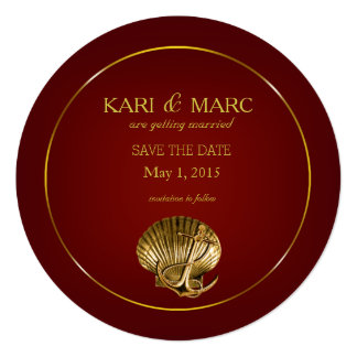 Anchored Seashell Save the Date | burgundy Card
