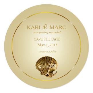 Anchored Seashell Save the Date | ecru & gold Card
