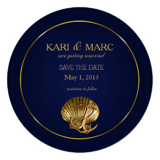 Anchored Seashell Save the Date | navy & gold Card