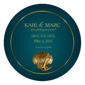 Anchored Seashell Save the Date | turquoise & gold Card