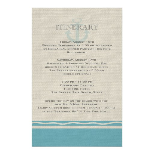 Anchored with Love Beach Itinerary Stationery