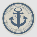 Anchored with Love Round Stickers