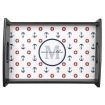 Anchors and Life Rings Monogram Serving Tray