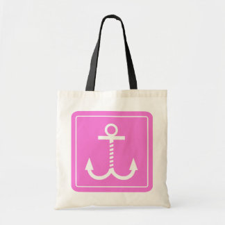 Anchors Away Budget Tote - Dk Pink and White