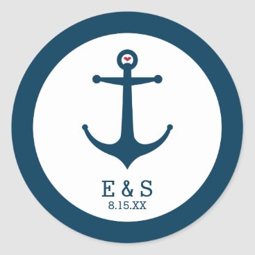 Beach Themed Anchors Away Classic Round Sticker