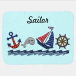 Anchors Away Custom Name Baby Blanket