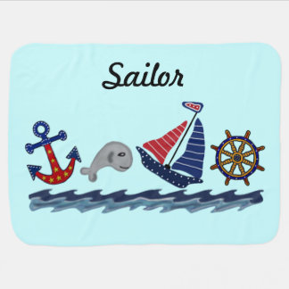 Anchors Away Custom Name Baby Blanket