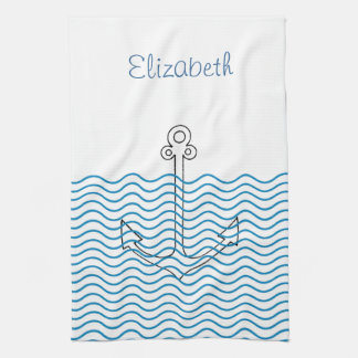 Anchor's Away! Girly Nautical Retro Custom Towel