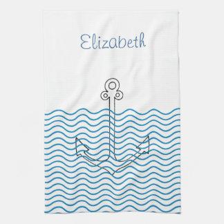 Anchor's Away! Girly Nautical Retro Custom Towel