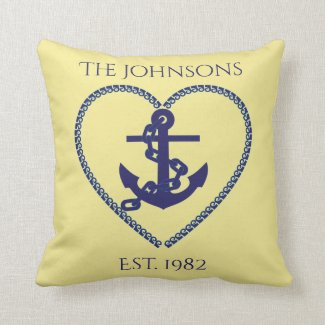 Anchors Away in Blue Throw Pillow