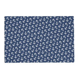 Anchors Away Nautical Pattern Navy Blue and White Laminated Placemat