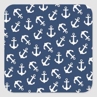 Anchors Away Nautical Pattern Navy Blue Square Sticker