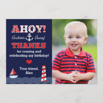 Anchors Away Nautical Photo Thank You Note