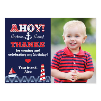 Anchors Away Nautical Photo Thank You Note Card