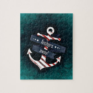 Anchors Away Nautical Print - Turquoise Background Jigsaw Puzzle