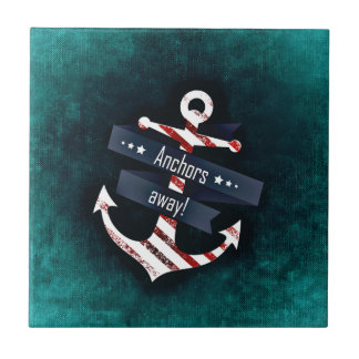Anchors Away Nautical Print - Turquoise Background Small Square Tile