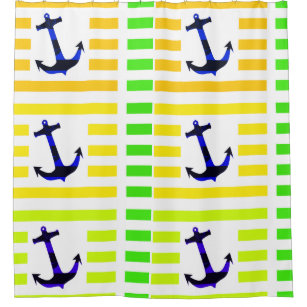 Anchors Away Navy Blue   Yellow Green Stripes Shower Curtain