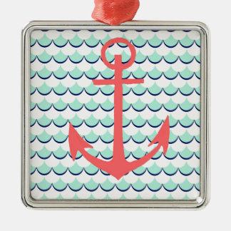 Anchors Away Square Metal Christmas Ornament