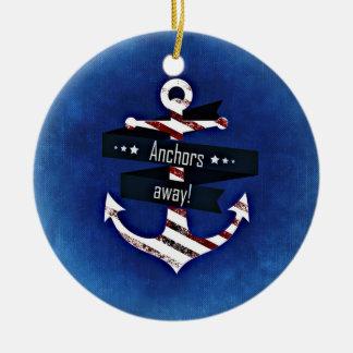 """Anchors Away!"" Patriotic Anchor Decor Ceramic Ornament"