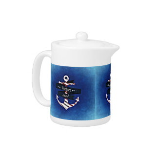 """Anchors Away!"" Patriotic Anchor Decor Teapot"