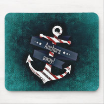 Anchors Away Print Red White Nautical Anchor Mouse Pad