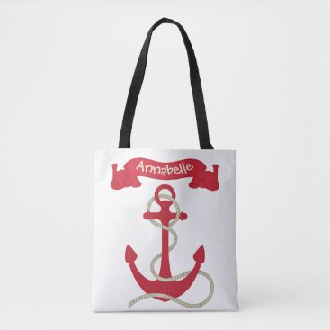 Beach Themed Anchors Away Red Tote Bag